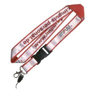 Lanyards, Schlüsselbänder bedruckt-aufgenäht, mit aufgesticktem Satinband - Werbeartikel 2c