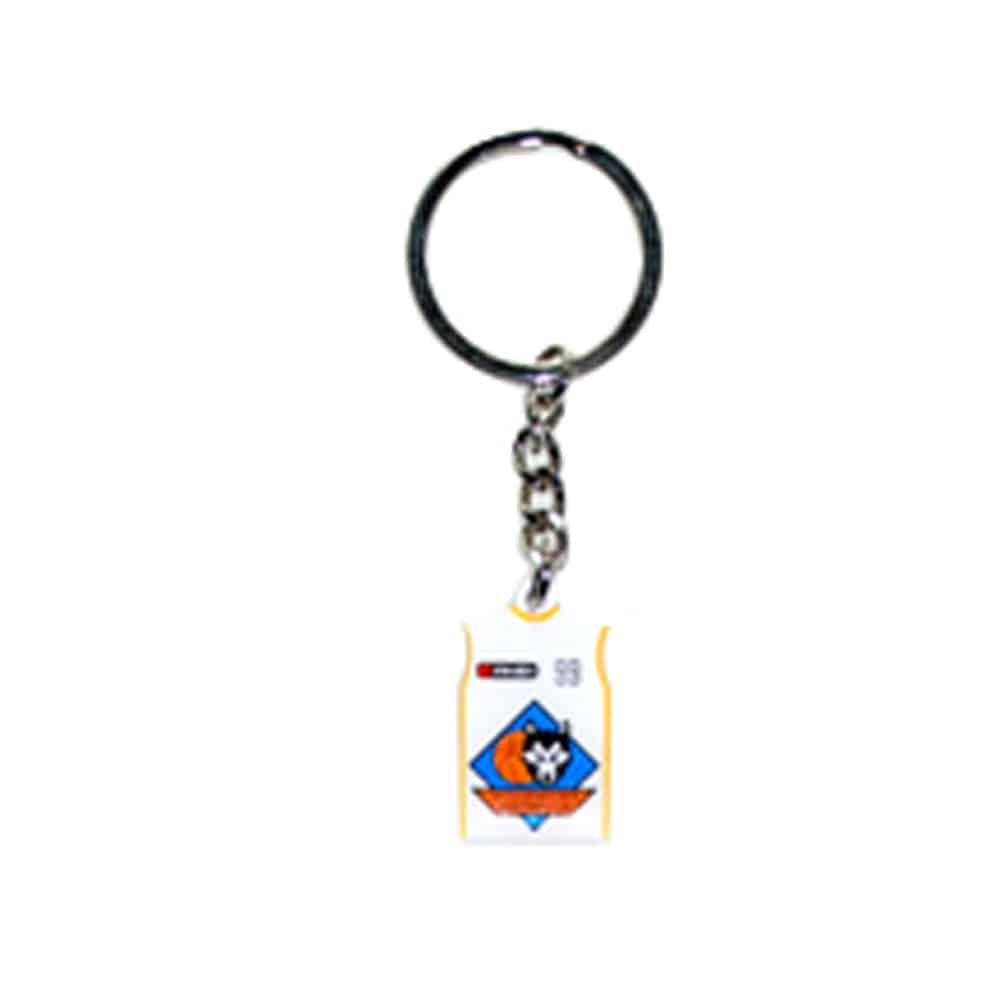 bedruckter Pin als Schlüsselanhänger