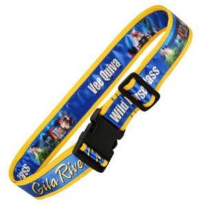 Koffergurte, Bag belts, luggage belt, Veredelung bedrucktes Band aufgenäht, aufgenähtes bedrucktes Satinband, Werbeartikel