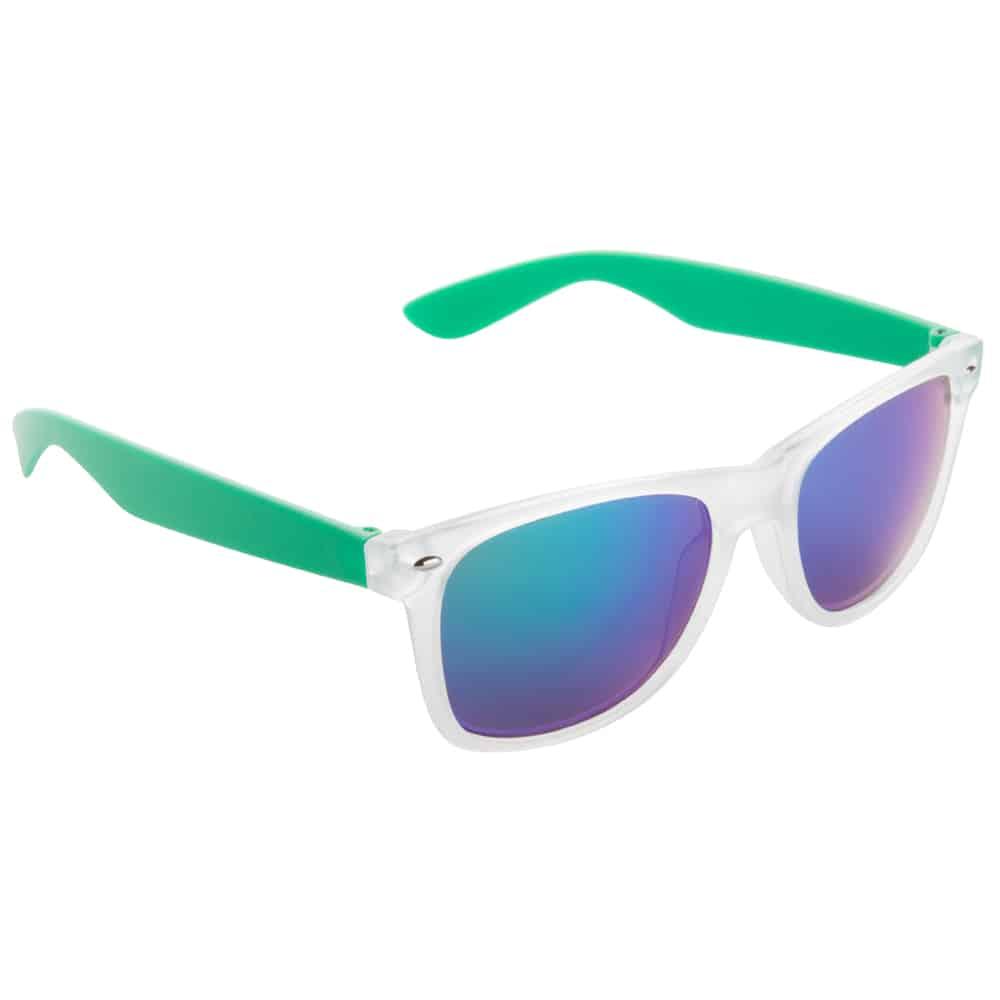 Werbe-Sonnenbrille Sun-021vb, Werbeartikel, bedruckt, farbe grün, frozen weiß, blau