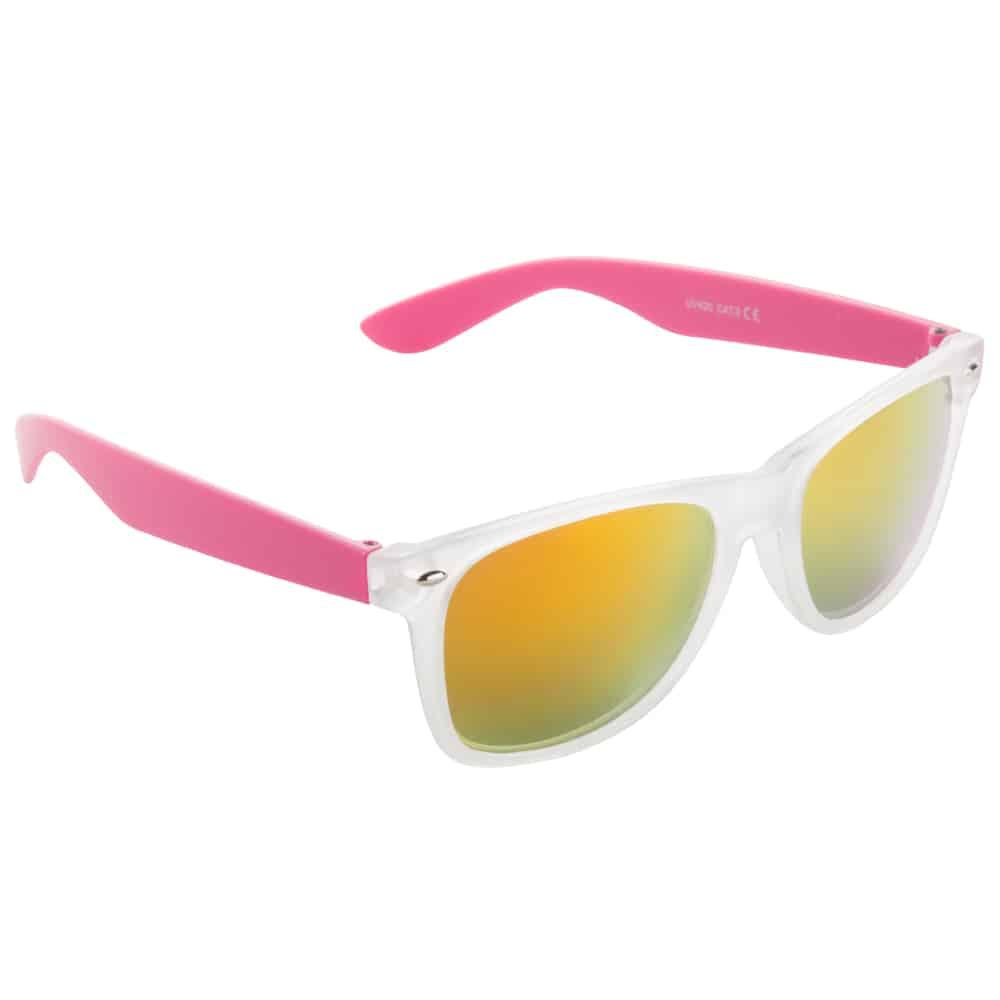 Werbe-Sonnenbrille Sun-021vb, Werbeartikel, bedruckt, farbe pink, frozen weiß, gelb