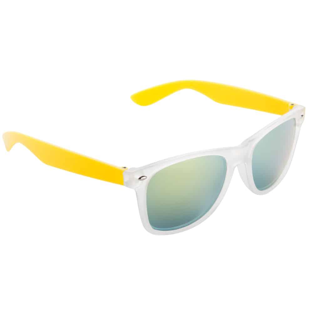 Werbe-Sonnenbrille Sun-021vb, Werbeartikel, bedruckt, farbe gelb, frozen weiß, grün