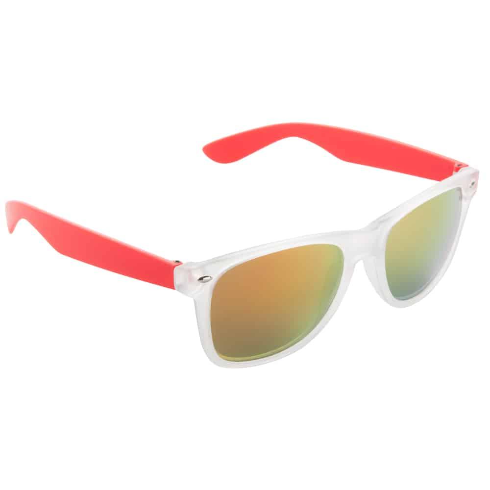 Werbe-Sonnenbrille Sun-021vb, Werbeartikel, bedruckt, farbe rot, frozen weiß, gelb