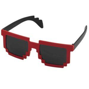 Werbe-Sonnenbrille, Sunpixel, Sonnenbrille im Pixelstyle, rot-schwarz, Werbeartikel