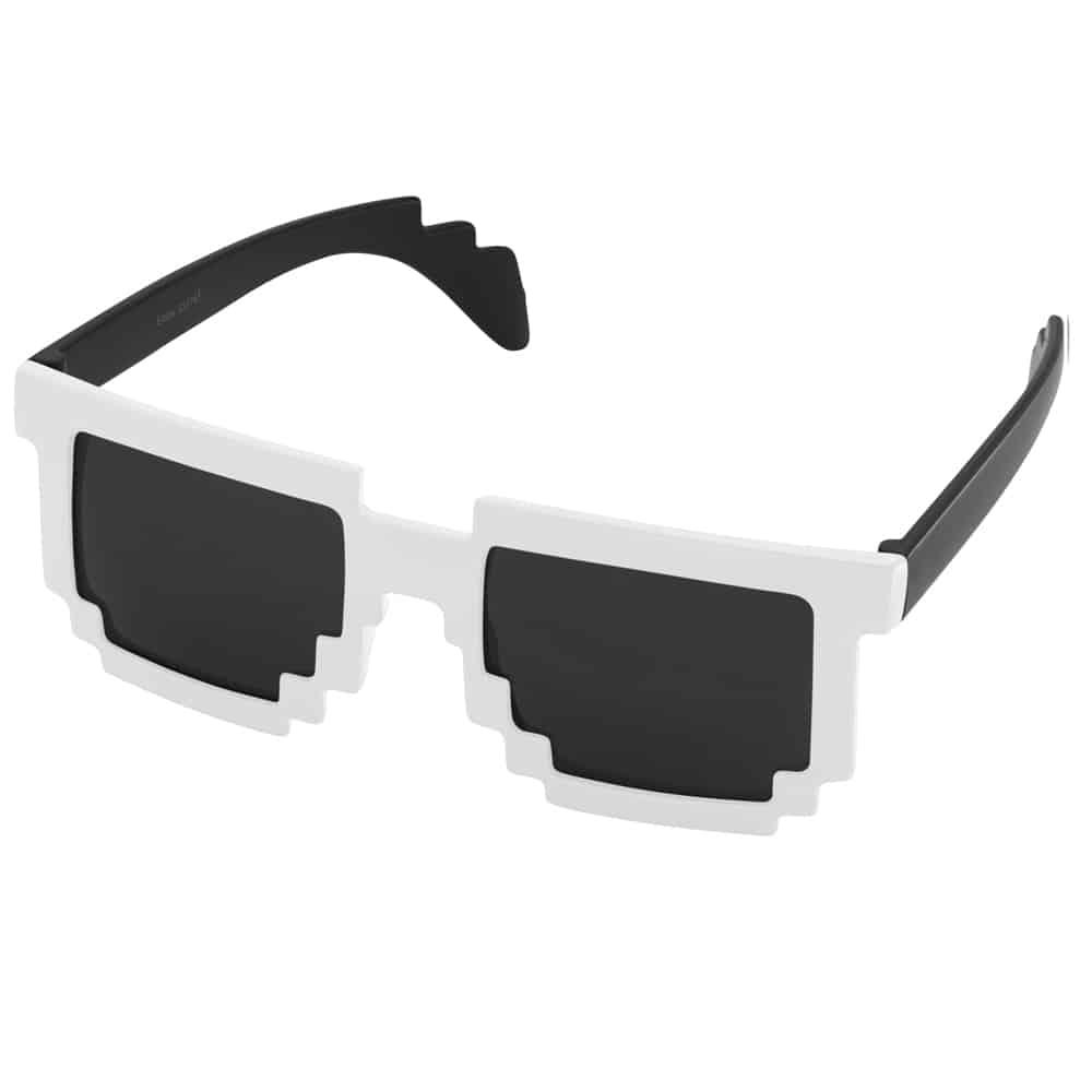 Werbe-Sonnenbrille, Sunpixel, Sonnenbrille im Pixelstyle, weiss-schwarz, Werbeartikel