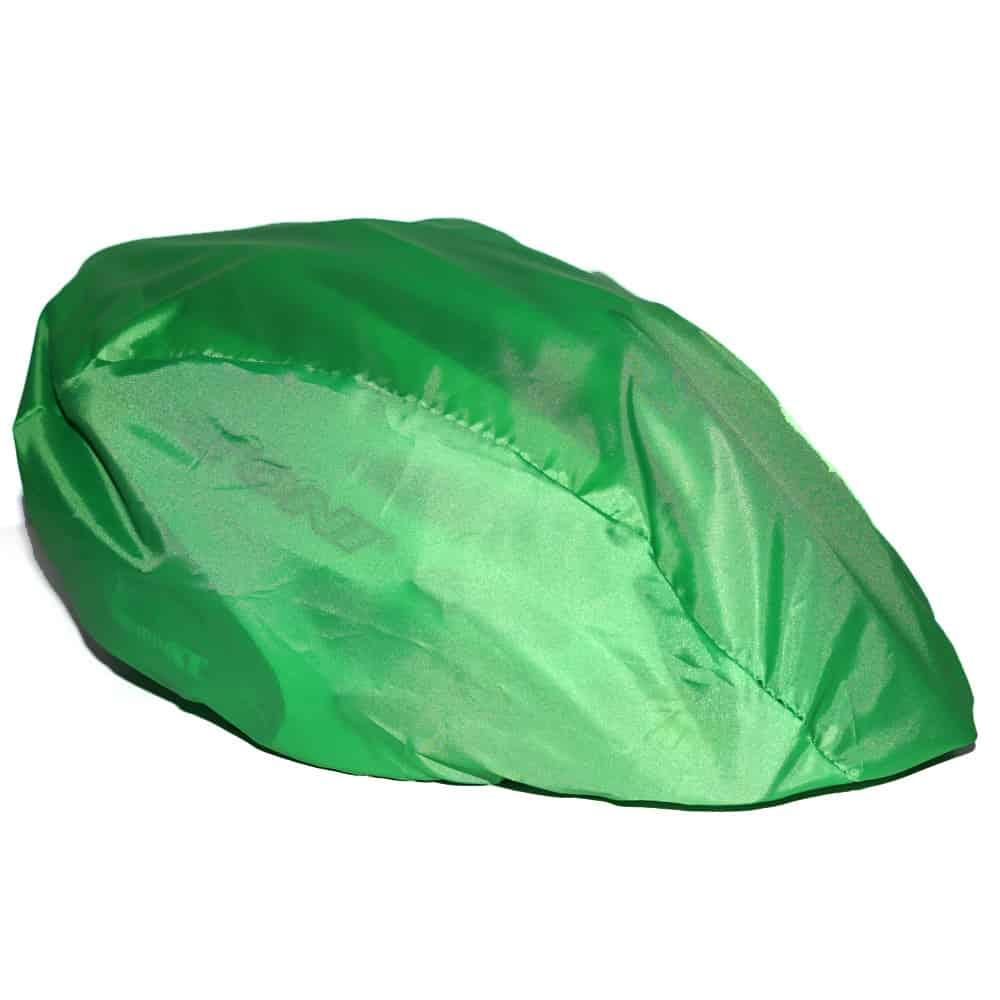 Fahrradhelm-Überzug, R-PET, recyceltes PET, recycled PET Flaschen, Werbeartikel, NonvisioN, Fahrradhelm-Überzug bedrucken lassen, grün