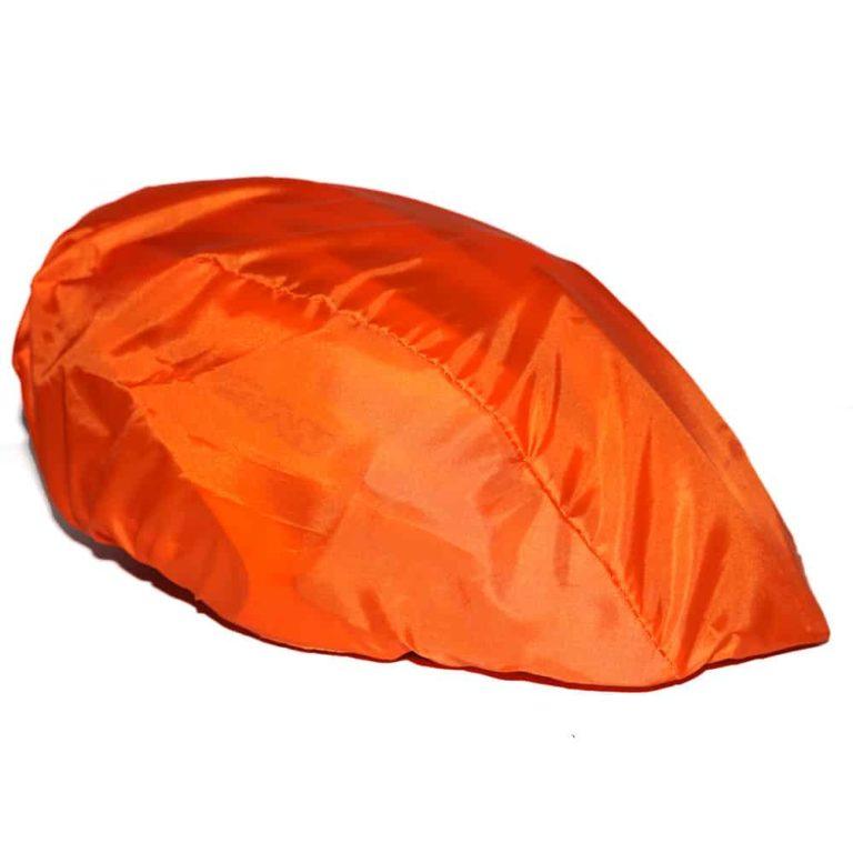 Fahrradhelm-Überzug, R-PET, recyceltes PET, recycled PET Flaschen, Werbeartikel, NonvisioN, Fahrradhelm-Überzug bedrucken lassen, orange