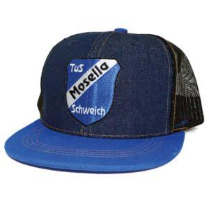 Truckercaps, Meshcap mit flachem Schirm, Snapback, Mosella, Jeansmaterial