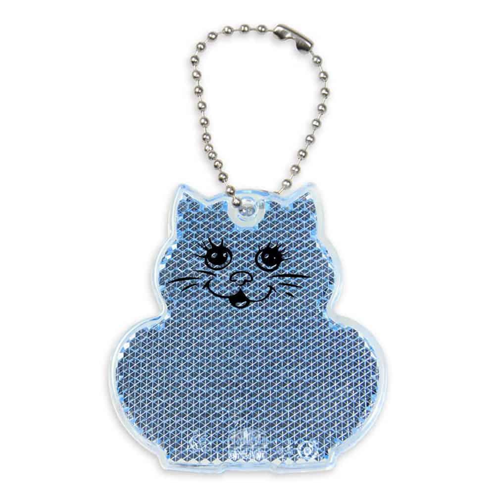 Reflektor, reflektierender Anhänger, Katze, blau, bedrucken, Werbeartikel