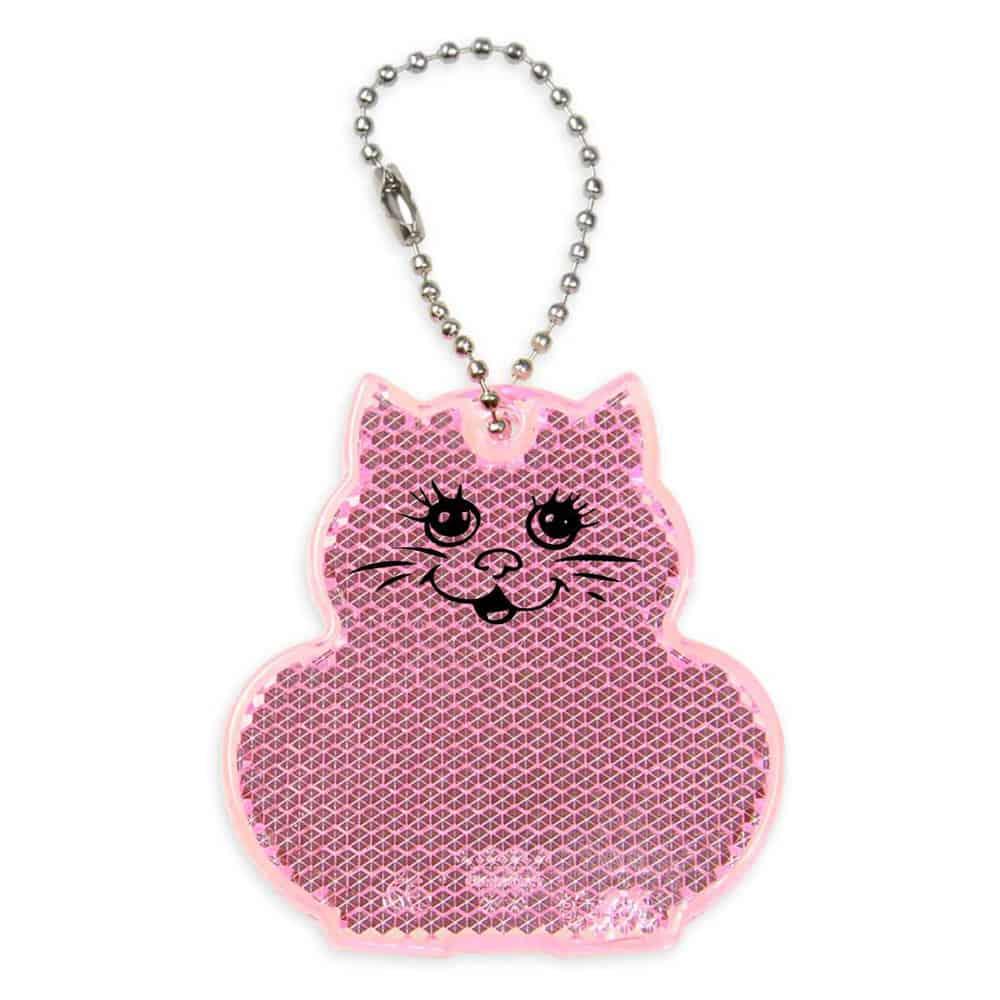 Reflektor, reflektierender Anhänger, Katze, rosa, bedrucken, Werbeartikel