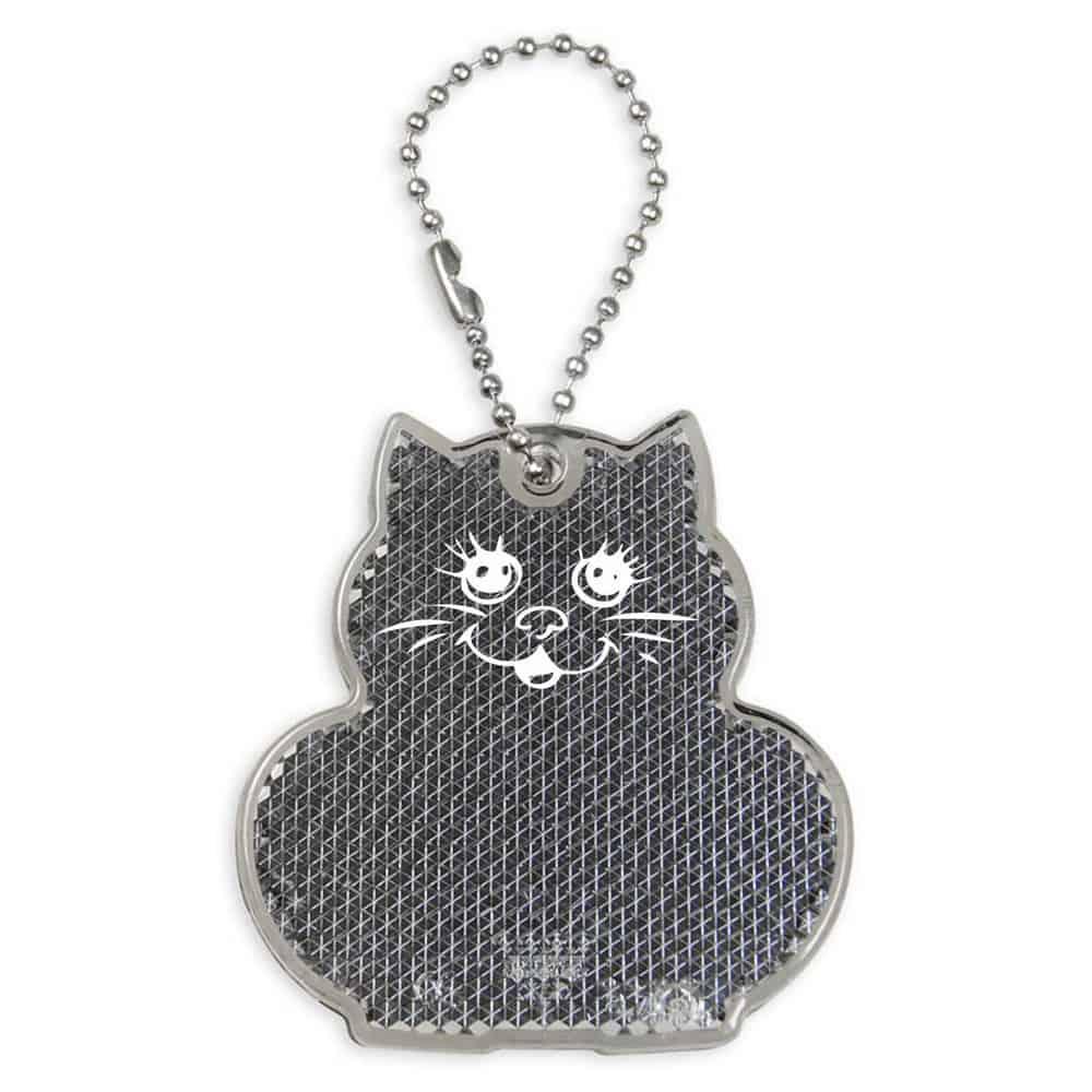 Reflektor, reflektierender Anhänger, Katze, grau, bedrucken, Werbeartikel