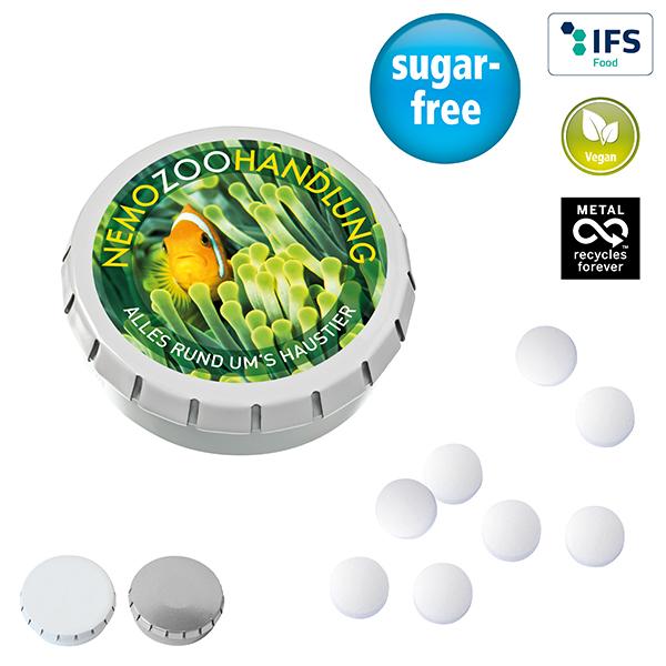Zuckerfreie Drops mit Logo auf der Packung