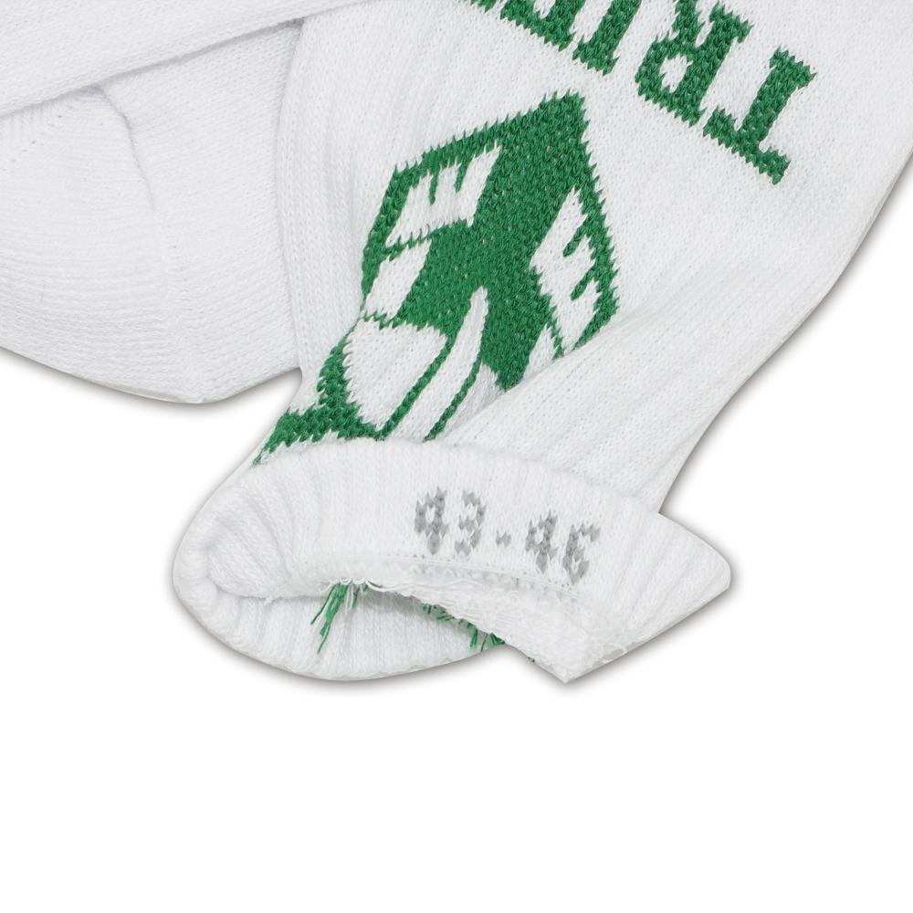 Weiße Socke mit Größeneinwebung im Bündchen innen - Nonvision