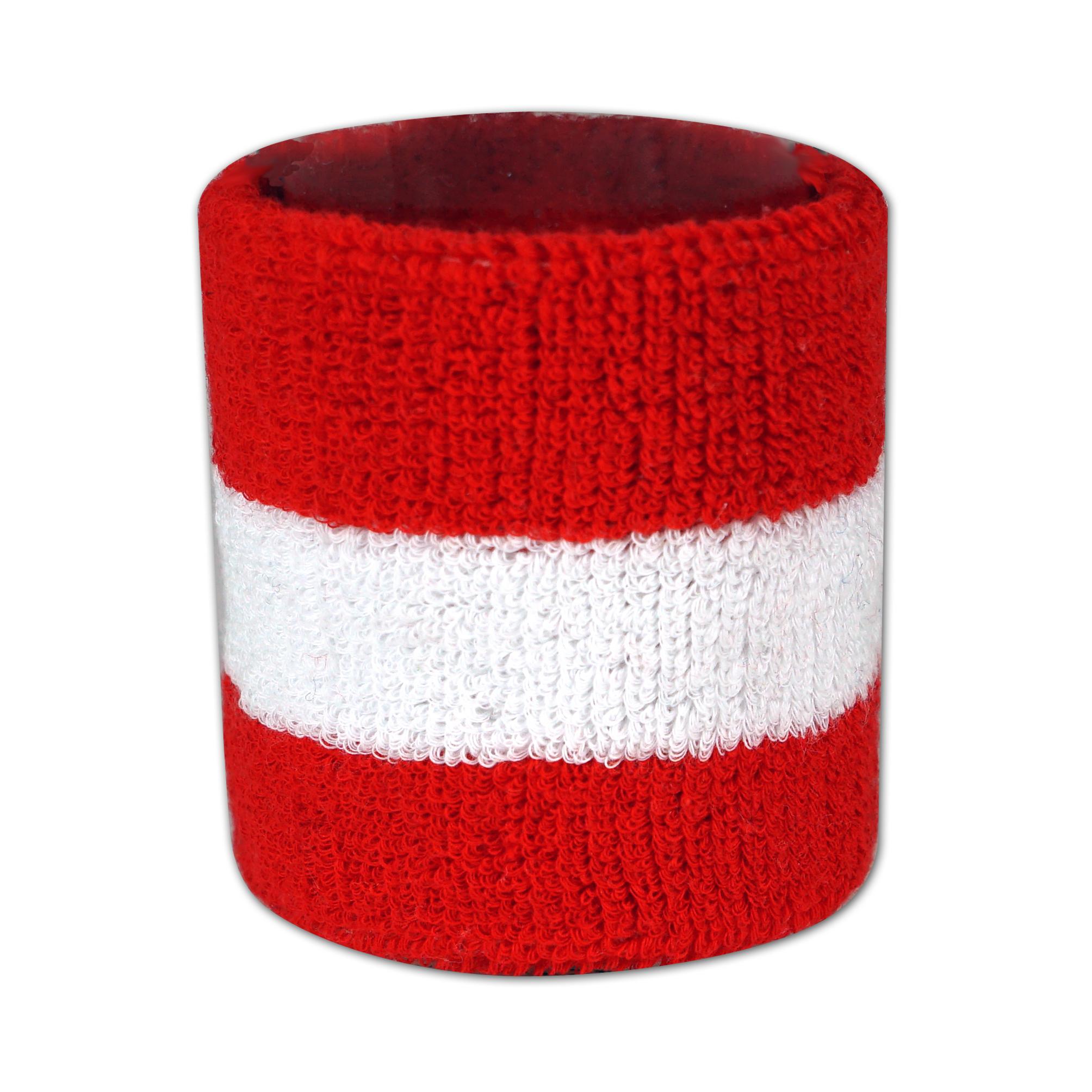 Schweissbänder 2 farbig gewebt in rot und weiß - Nonvision