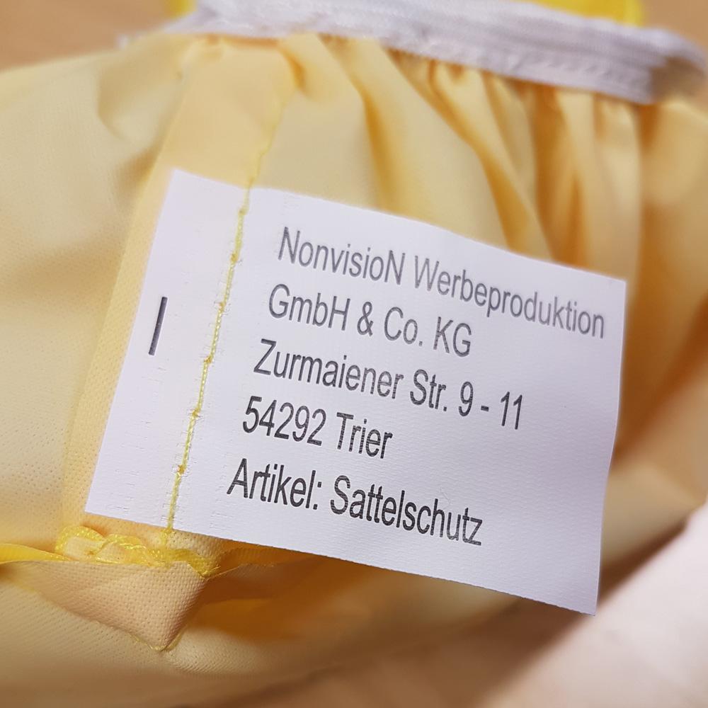 Hersteller-Label Fahrrad Sattelschutz