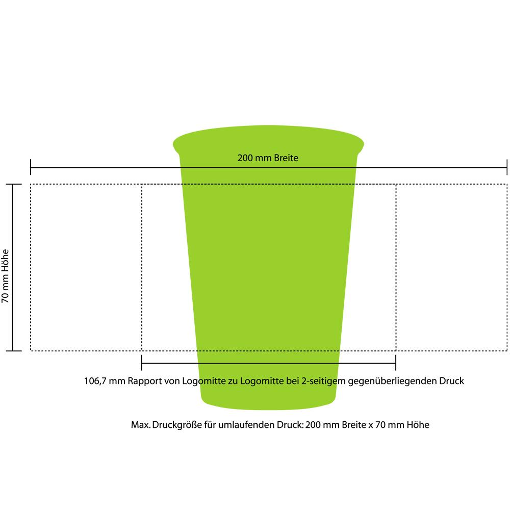 300ml Mehrwegtrinkbecher Druckfläche rundum