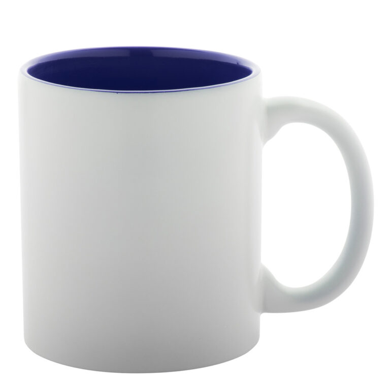 weiss-blaue Tasse gravieren lassen