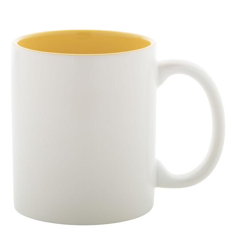 weiss-gelbe Tasse gravieren lassen