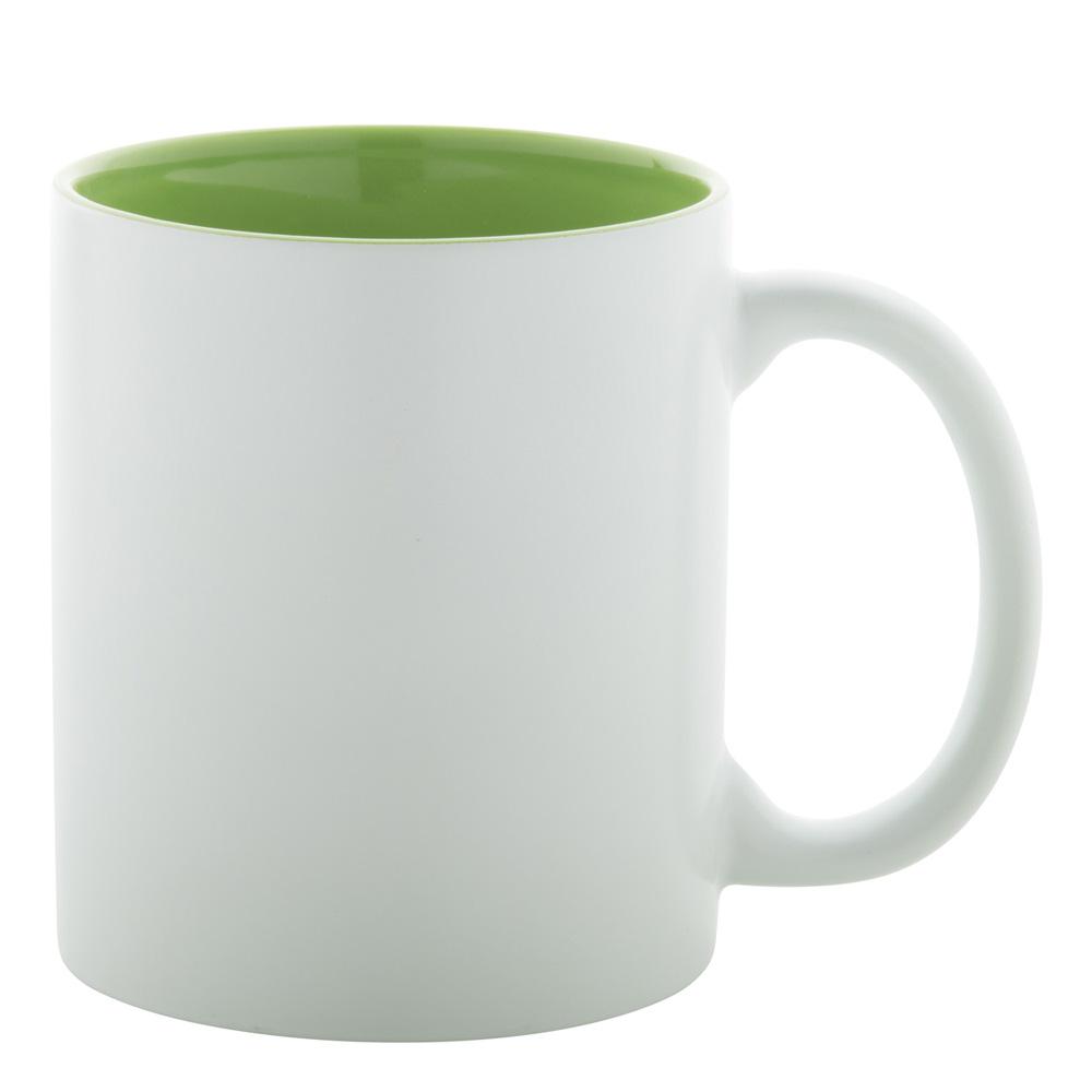 weiss grüne Tasse gravieren lassen