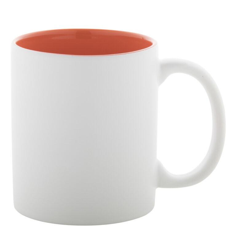 weiss orange Tasse gravieren lassen