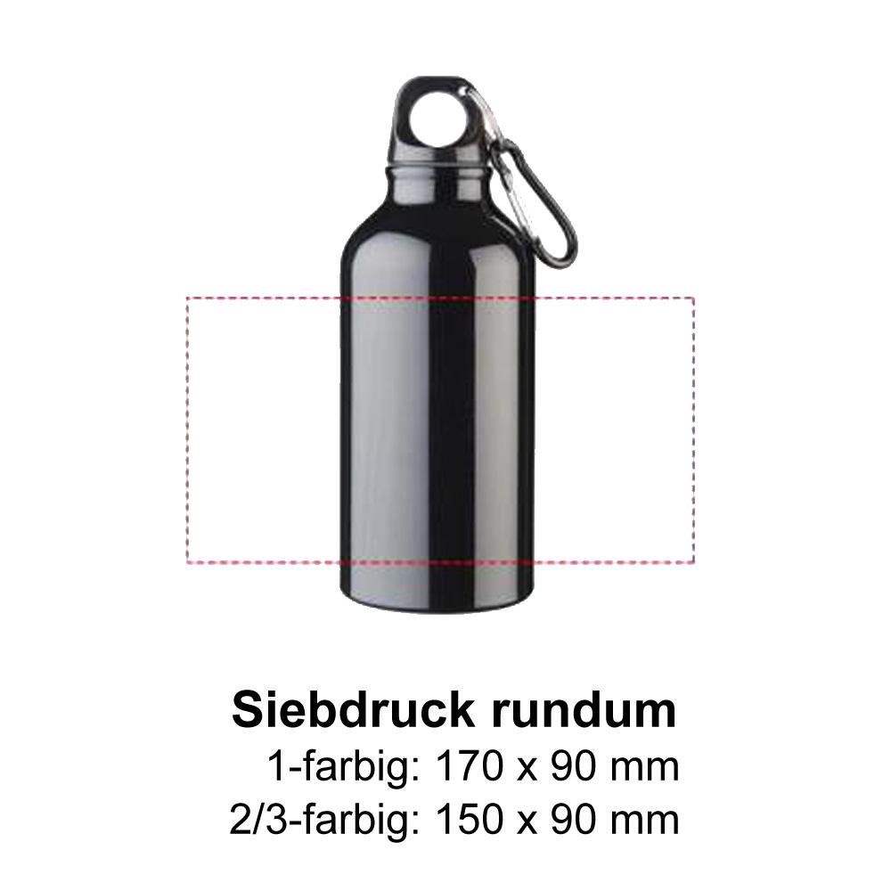 Aluminium Trinkflasche 400ml Siebdruck rundum