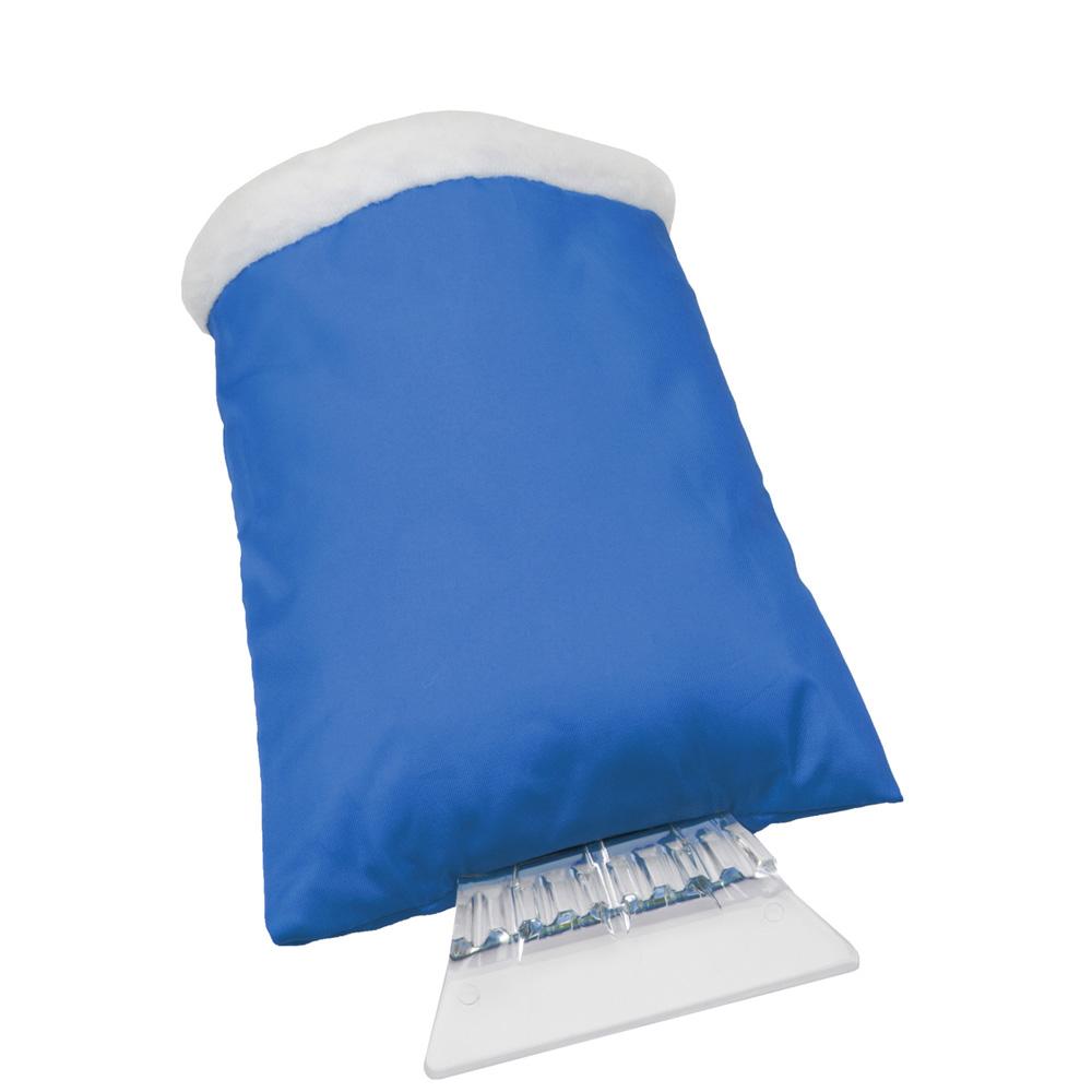 Eiskratzer mit blauem Handschuh mit Werbedruck