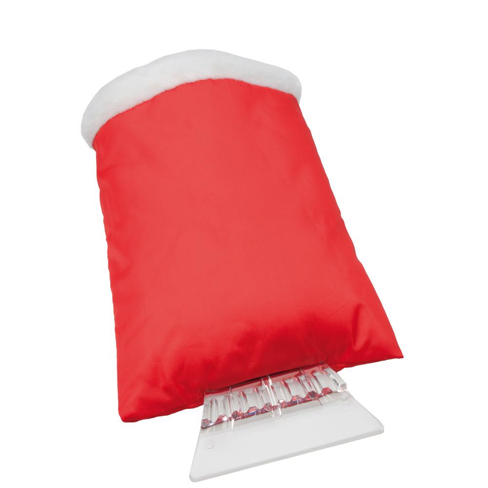 Eiskratzer mit rotem Handschuh mit Werbedruck