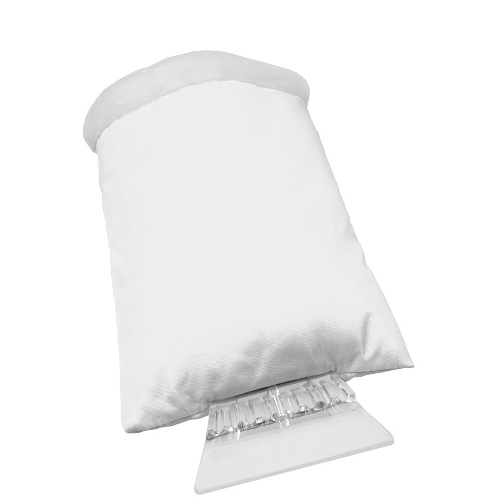 Eiskratzer mit weißem Handschuh mit Werbedruck
