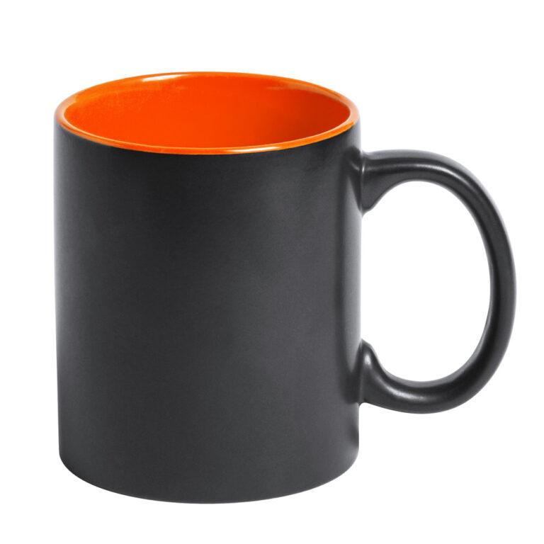 Schwarze Tasse mit Lasergravur orange