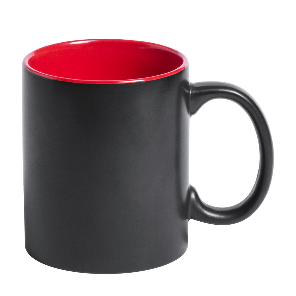 Schwarze Tasse mit Lasergravur rot