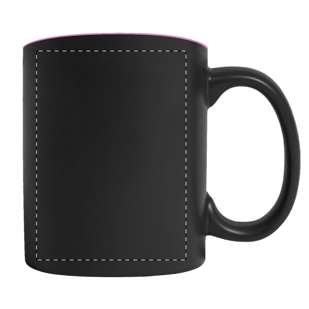 schwarze Tasse Gravur für Rechtshänder